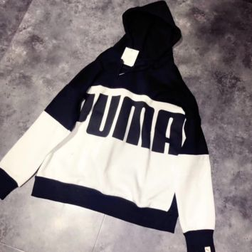 Puma Fashion Casual Long Sleeve Splicing Print Hoodie Sweater