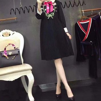 DCCK6HW Gucci' Women Temperament Fashion Flower Tiger Head Embroidery Bow Lapel Multicolor Long Sleeve Pleated Dress