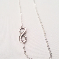 Off center Infinity Necklace, antique silver infinity symbol, forever, eternity jewelry, Sideways Infinity, asymmetrical jewelry