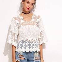 Cute Embroidered Flower Shirt Patchwork Hollow Out Crochet Lace Top V-Neck Flare Sleeve Loose Blusa Chic Boho Tops Blusas