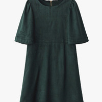 Green Suede Puffy Sleeves Vintage Mini Dress