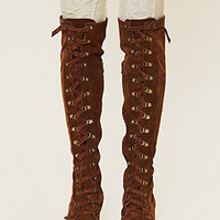 Brown Suede Strappy Front Buckle Detail Over the Knee Boots