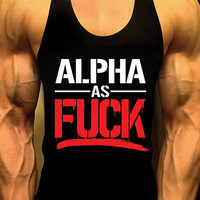 Alpha As Fu*k, Bodybuilding Tank Top, Mens Workout Shirt, Racerback Singlet Y-Back, Muscle Tee, Mens Fitness Gym Tank Top, Fitness Apparel