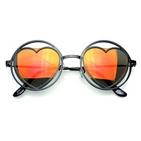 Womens Round Metal Heart Shape Hippie Circle Sunglasses