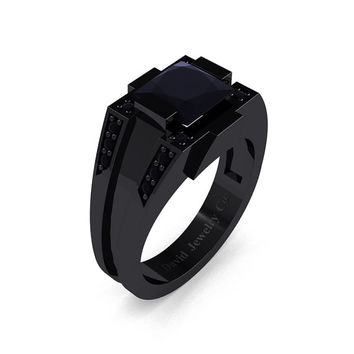 Mens Modern 14k Black Gold 2.0 Carat Princess Black Diamond Wedding Ring R1020M-14KBGBD