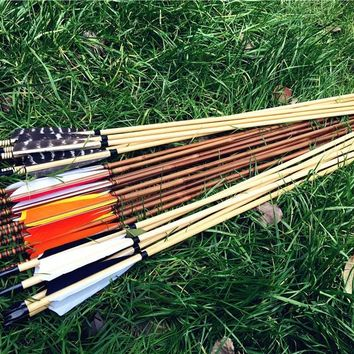 Customized wooden arrows/ bamboo arrows  6pk/12pcs/24pcs  length can cut 26inch-33inch color can choose as you like
