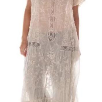 Magnolia Pearl Dress 575 Linen Ramie Anna Grace Embroidered Roses Dress~ Antique White