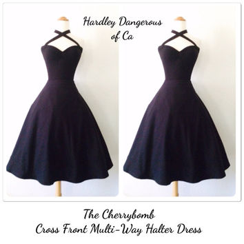 The Cherrybomb, Black Halter Dress, Sexy ROCKABILLY 1950s Style Cross Front Multi-Way, Stretch Knit, Available in over 30 Custom Colors