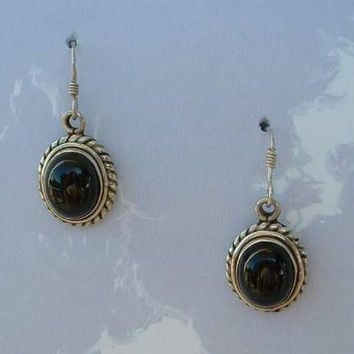 Sterling Silver Black Obsidian Cabochon Dangle Earrings