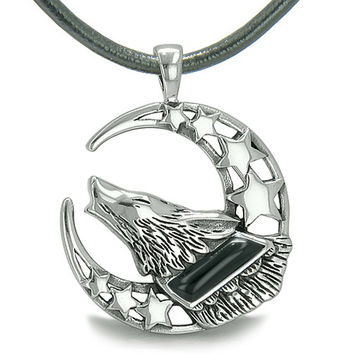 Howling Courage Wolf Moon Stars Amulet Positive Earth Energy Simulated Onyx Leather Pendant Necklace