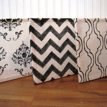 White Burlap Art Blocks, Chevron, Damask, Mediterranean Tile Pattern, Set of Three, Square