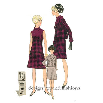 1960s Mod Sleeveless DRESS & JACKET PATTERN with Standing Collar Vogue 6923 Special Design Bust 34 Women's Vintage Sewing Patterns + Label
