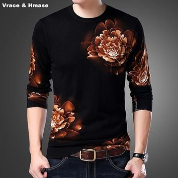 Chinese style exquisite 3D floral pattern fashion casual knitted sweater Autumn 2017 New arrival quality sweater men pull homme
