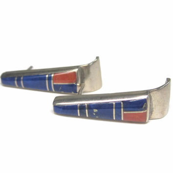 Vintage Navajo Lapis Coral Inlay Earrings Lorraine Long