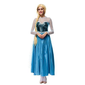 Women Blue Princess Rapunzel Costume Anime Tangled Cosplay Costumes Adult Ice Princess Halloween Costumes for Women CS8253
