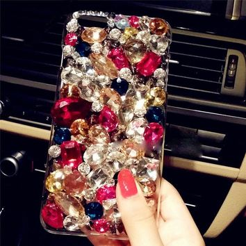 3D Handmade Soft Edge Diamond Phone Cases For Samsung galaxy note 8, Bling Rhinestone Acrylic case cover