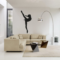 Wall Decal Vinyl Sticker Decals Art Decor Design Dancing Ballerina Ballet Dancer Girl Artist Theater Bedroom Living Room (r162)