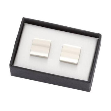 MG Gifts - Metal Cufflinks W/A Pair (Nickel Color/Brush Finishing In Black Card Board Box
