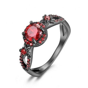 Vintage  jewelry 7mm Red CZ Stone Flower Ring Black Gold Filled Wedding band Rings For Women Engagement Gift