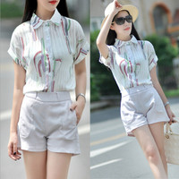 White Cactus Print Short Sleeve Chiffon Blouse and Casual Shorts