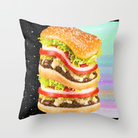 Big Burger Throw Pillow by Danny Ivan