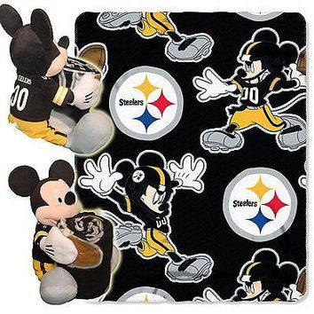 Pittsburgh Steelers NFL Mickey Mouse Throw and Hugger Pillow Set