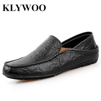 KLYWOO British Leather Men Shoes Luxury Brand Penny Loafers Italian Fashion Designer Shoes Men Casual Driving Shoes Slip on