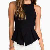 Black Halter Strappy Back Peplum Top