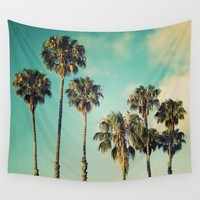 Palms Blue Wall Tapestry by RichCaspian