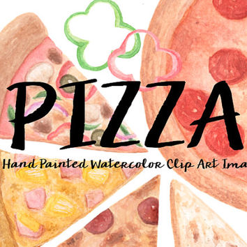 Pizza Watercolor Clip Arts Digital Files Kids Birthday Party Pepperoni olive Download printable Food Crafting Material Pepper Mushroom