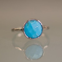 Turquoise - December Birthstone Ring - Silver Gemstone Ring - Bezel Set Ring - Stackable Ring
