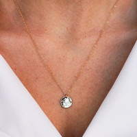 Petite HAMMERED DISC Necklace - Minimal delicate dainty / Tiny Circle Tag Necklace / 14k Gold Filled Disc and Chain Necklace