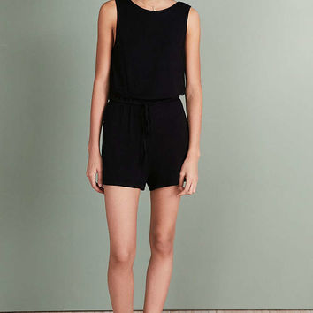 Silence + Noise Rib Knit Plunge-Back Romper - Urban Outfitters