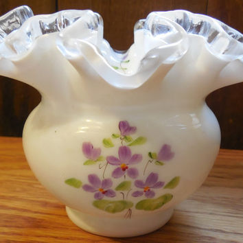 "1970s Fenton Violets in the Snow 4"", Silver Crest Handpainted Vase, 1970s Signed by C Shaffer"