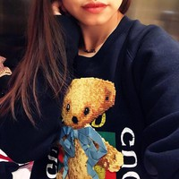 Gucci logo sweatshirt with teddy bear