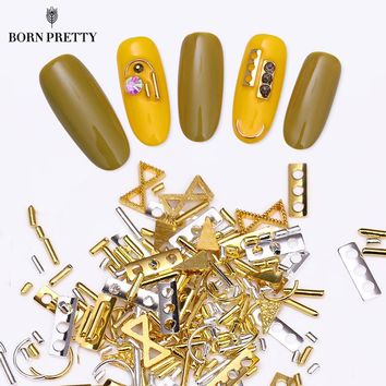 Gold Silver Nail Rivet Studs Alloy Rod Frames Arcuated for UV Gel Accessories DIY Manicure 3D Nail Art Decorations