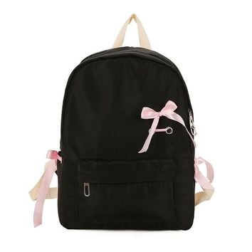 School Backpack trendy 2018 Solid Colour Backpack Ribbon Bow Backpack Teenagers Nylon Waterproof School Bag Girls Big Travel Knapsack Mochila AT_54_4