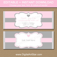 EDITABLE Wedding Chocolate Bar Wrappers - Printable Bridal Candy Wrappers - Blush Pink and Grey Wedding Party Favors Gift - INSTANT