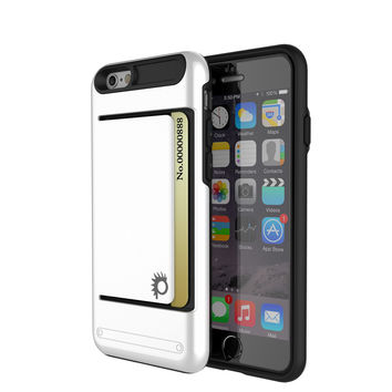 iPhone 6/6s Plus Case PunkCase CLUTCH White Series Slim Armor Soft Cover Case w/ Tempered Glass