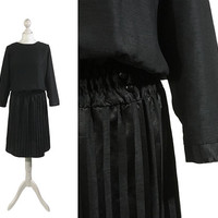 Black Vintage Dress | 1980s 90s | Boat Neck | Batwing Sleeves | Medium UK 14 16