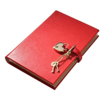 Heart Lock Diary Brights Leather | Red