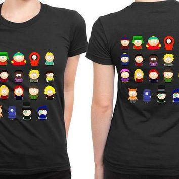 DCCKL83 South Park All Character 2 Sided Womens T Shirt