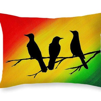 Music Pillow Art Throw Pillow   Bob Marley Three Little Birds   Rasta Decor  Red Yellow. Best Rasta Decor Products on Wanelo