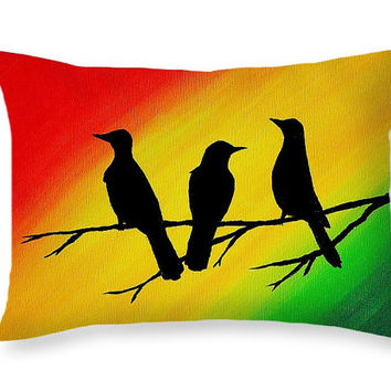 Music Pillow Art Throw Pillow - Bob Marley Three Little Birds - Rasta Decor Red Yellow Green Fun Pillows Colorful Pillows Dorm Room Bedding