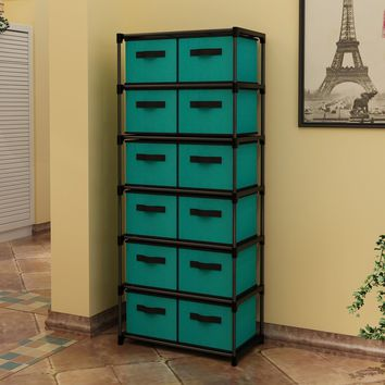 Storage Chest Shelf Unit 12-Drawer Storage Cabinet with 6-Tier Metal Wire Shelf and 12 Removable Non-woven Fabric Bins