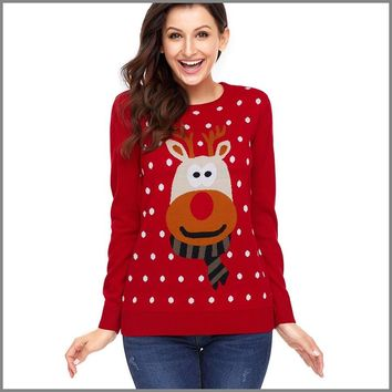 Red Ugly Christmas Sweater Women With Deer Knitted Jumper Christmas Pullover Sweater Reno Navidad Jersey Ladies Sweaters P6C1164