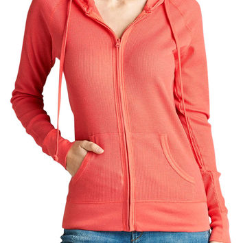 Women & Juniors Long Sleeve Thermal Hoodie Jacket