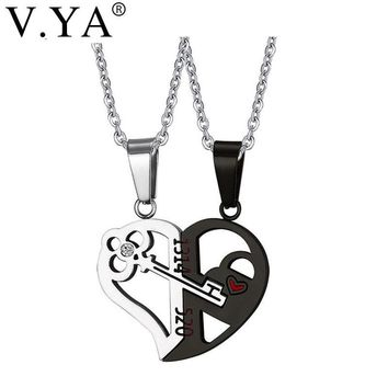 "V.Ya Romantic Her & His Love Necklace Set Couples Heart Key Crystal Lover Pendant Valentine Stainless Steel 24"" Chain Drop Ship"