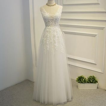 New arrival woman banquet evening dress long design v neck embroidery lace white long evening dresses