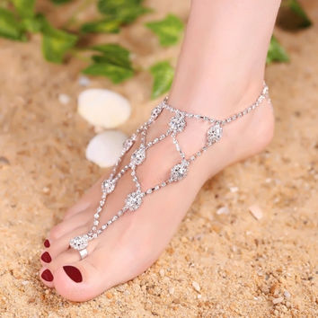 Retro Bling Bling Rhinestone Anklets With Toe Ring Foot Jewelry